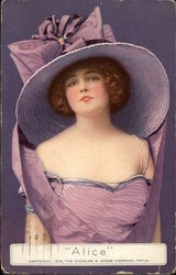 """Alice"" - Woman in Lavender Dress & Hat Postcard"