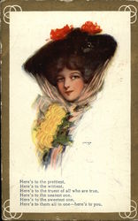 """Here's to You"" with Woman in Black Hat & Flowers Postcard"