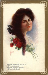 """Here's to those who love us - "" with Woman Postcard"