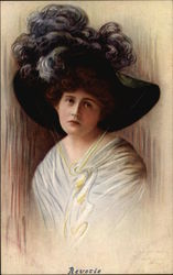 """Revetie"" - Woman in Black Hat with Feather Plumes Postcard"