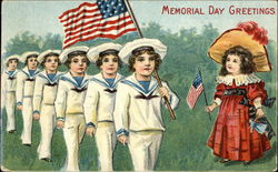 Memorial Day Greetings with Flags & Children