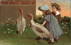 Thanksgiving Greetings with Turkeys and Children