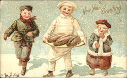 New Year Greeting with Baker & Children