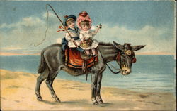 Boy and Girl on Donkey at the Beach
