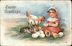 Easter Greetings with Bunnies, Chicks, & Child