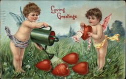Loving Greetings with Cherubs and Hearts