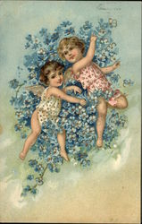 Two Cherubs and Forget-Me-Nots