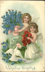Valentine Greeting with Cherubs, Flowers, & Dove
