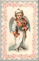 Boy Angel Dressed in Long Robe With Orange Collar With Fruit in His Pockets and Inside Robe