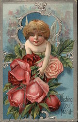 Wishing You Many with Cherub & Roses