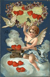 A Message of True Love with Cherub, Clouds, & Hearts