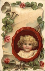 Girl with Four Leaf Clovers Postcard