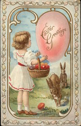 Easter Greetings with Child and Bunnies