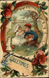 Greetings with Children & Apple Tree Postcard