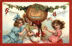 Halloween Greetings with Jack O'Lantern & Girls