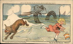 Boy and Dog Chased by Sea Monster