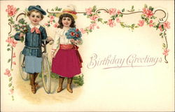 Birthday Greetings with Flowers & Children