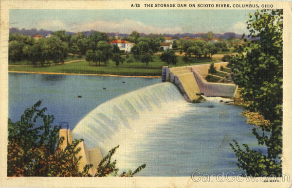 The Storage Dam On Scioto River Columbus Ohio