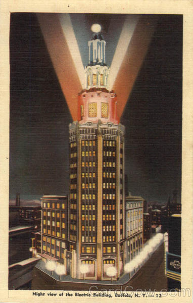 Night View Of The Electric Building Buffalo New York
