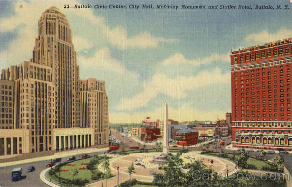 Buffalo Civic Center City Hall Mckinley Monument And Statler Hotel New York