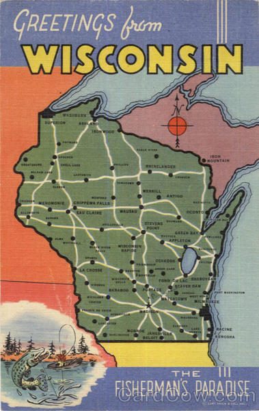 Greetings From Wisconsin Scenic Maps