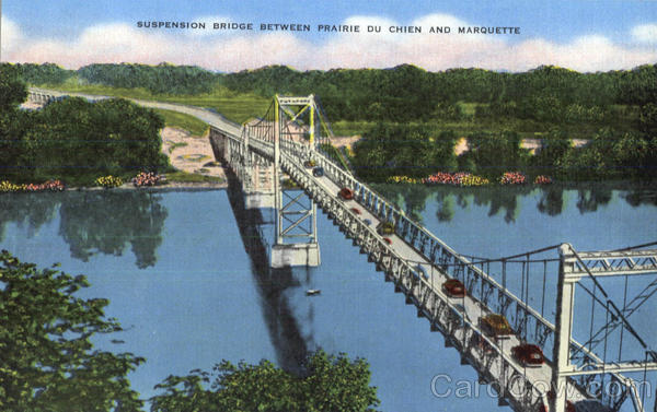 Suspension Bridge Between Prairie Du Chien And Marquette Wisconsin