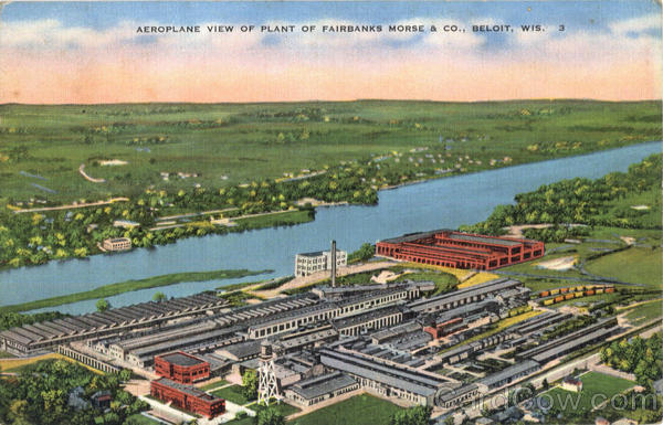 Aeroplane View Of Plant Of Fairbanks Mores & Co. Beloit Wisconsin