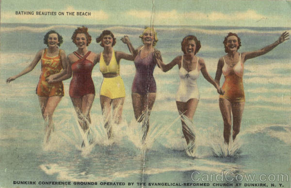 Bathing Beauties On The Beach Dunkirk New York Swimsuits & Pinup