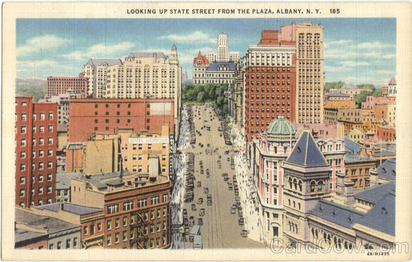 Looking Up State Street From The Plaza Albany New York