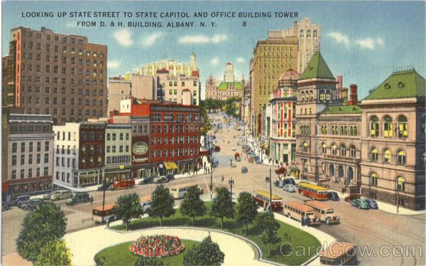 Looking Up State Street To State Capitol And Office Building Tower, D. & H. Building Albany New York