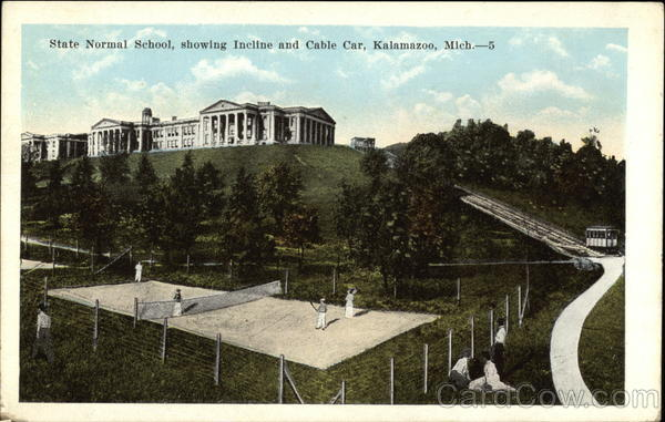 State Normal School, showing Incline and Cable Car Kalamazoo Michigan