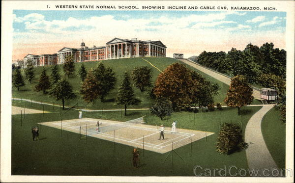 Western State Normal School, Showing Incline and Cable Car Kalamazoo Michigan