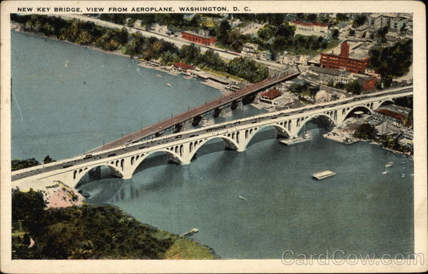 New Key Bridge, View From Aeroplane Washington District of Columbia