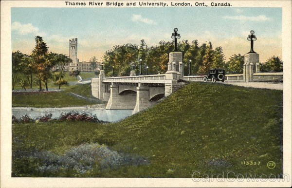 Thames River Bridge and University London Canada Ontario