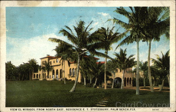 View El Mirasol from North East, Residence E.T. Stotesbury Palm Beach Florida