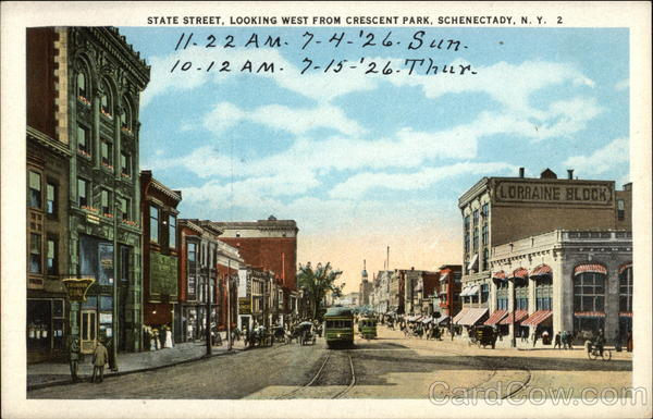 State Street, Looking West from Crescent Park Schenectady New York