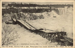 Falls View Bridge, American Falls at Right, After Collapse, Jan. 27, 1938