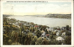 Bird's Eye View of Town and Seneca Lake