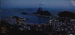 Botafogo and Sugar Loaf at NIght Large Format Postcard
