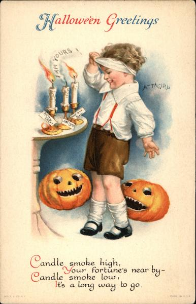 Halloween Greetings with Jack O'Lanterns & Child