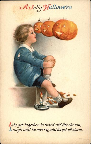 A Jolly Halloween with Child & Jack O'Lanterns Ellen Clapsaddle