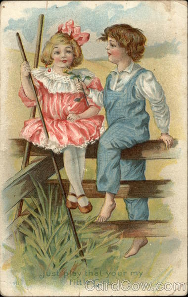 Boy and Girl on Fence Romance & Love