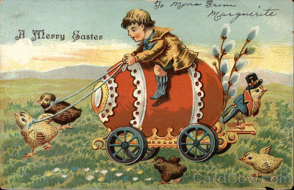 A Merry Easter with Boy Riding Egg Eggs