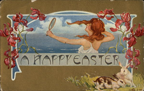 A Happy Easter with Woman, Flowers, & Bunnies