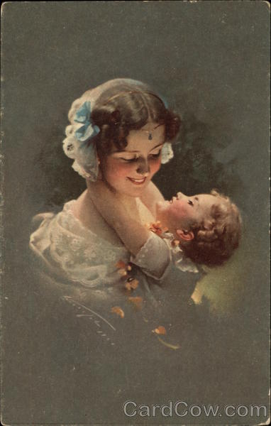 Mother with Blue Bow in Hair Holding Little Girl Women