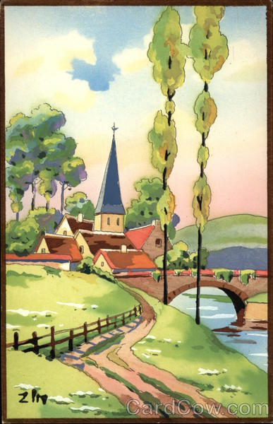 Watercolor Landscape of Lane Into Town and Bridge Art