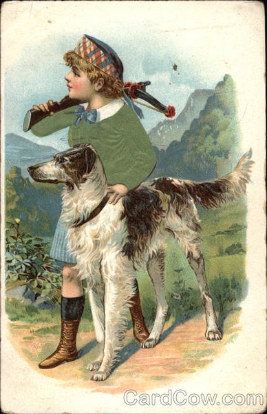 Boy Hunting with Large Dog Dogs Silk & Fabric Applique