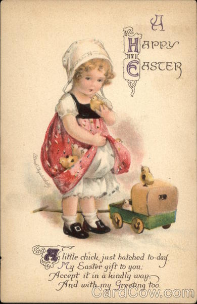 A Happy Easter with Young Girl & Chicks Ellen Clapsaddle