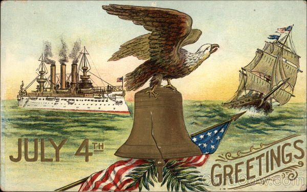 July 4th Greetings with Eagle, Liberty Bell & Ships