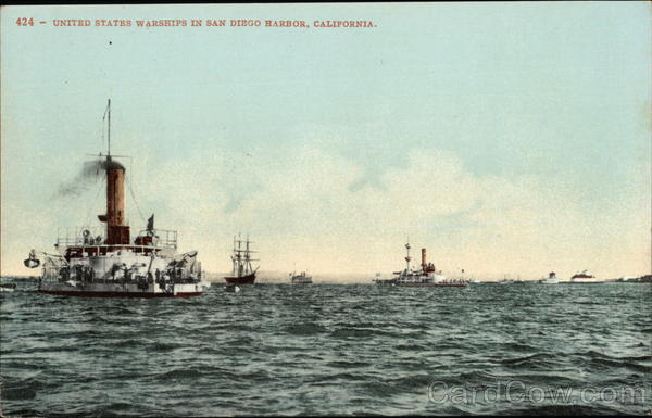 United States Warships in San Diego Harbor, California